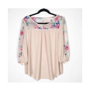 LC Lauren Conrad Pink Floral Blouse